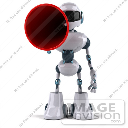 #50662 Royalty-Free (RF) Illustration Of A 3d Futuristic Robot Mascot Using A Megaphone - Pose 1 by Julos