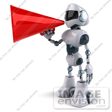#50663 Royalty-Free (RF) Illustration Of A 3d Futuristic Robot Mascot Using A Megaphone - Pose 3 by Julos