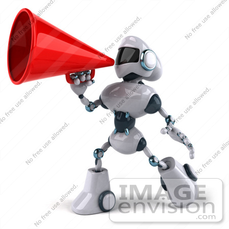#50669 Royalty-Free (RF) Illustration Of A 3d Futuristic Robot Mascot Using A Megaphone - Pose 2 by Julos