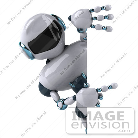 #50671 Royalty-Free (RF) Illustration Of A 3d Futuristic Robot Mascot Pointing At A Blank Sign by Julos
