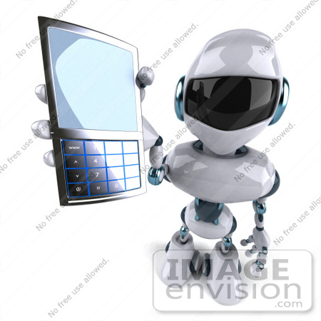 #50672 Royalty-Free (RF) Illustration Of A 3d Futuristic Robot Mascot Using A Cell Phone - Version 2 by Julos