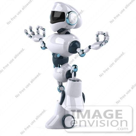 #50674 Royalty-Free (RF) Illustration Of A 3d Futuristic Robot Mascot Standing In Meditation by Julos