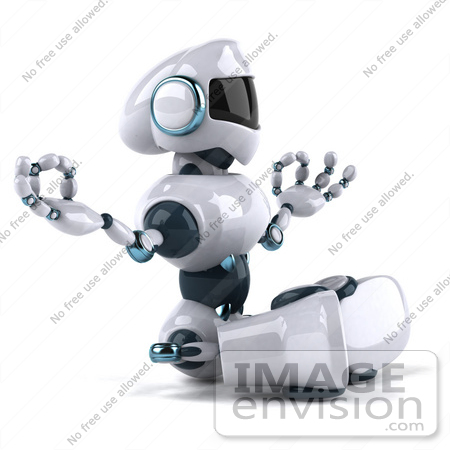 #50677 Royalty-Free (RF) Illustration Of A 3d Futuristic Robot Mascot Meditating - Pose 1 by Julos