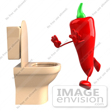 #50729 Royalty-Free (RF) Illustration Of A 3d Red Hot Chili Pepper Mascot Running To A Toilet by Julos