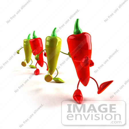 #50742 Royalty-Free (RF) Illustration Of 3d Red And Green Chili Pepper Mascots Marching Forward - Version 1 by Julos