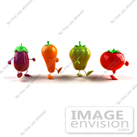 #50751 Royalty-Free (RF) Illustration Of 3d Tomato, Bell Pepper, Carrot And Eggplant Characters Marching Right - Version 1 by Julos