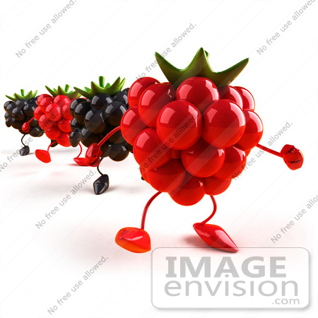 #50766 Royalty-Free (RF) Illustration of 3d Blackberry And Raspberry Characters Walking Forward - Version 1 by Julos