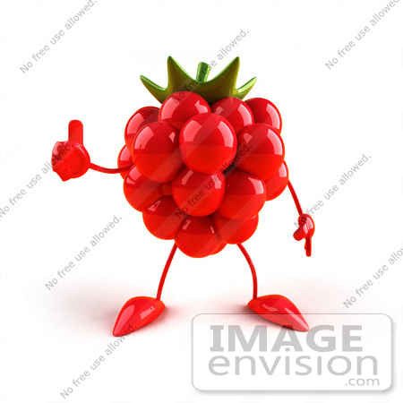 #50770 Royalty-Free (RF) Illustration Of A 3d Raspberry Mascot Giving The Thumbs Up - Version 1 by Julos