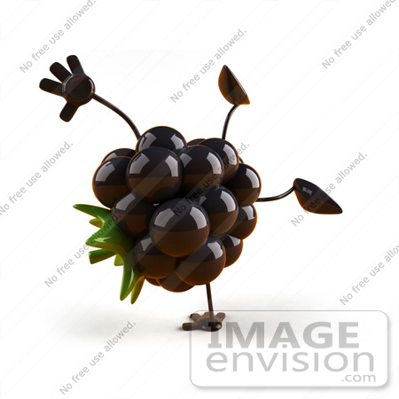 #50771 Royalty-Free (RF) Illustration Of A 3d Blackberry Mascot Doing A Cartwheel - Version 1 by Julos