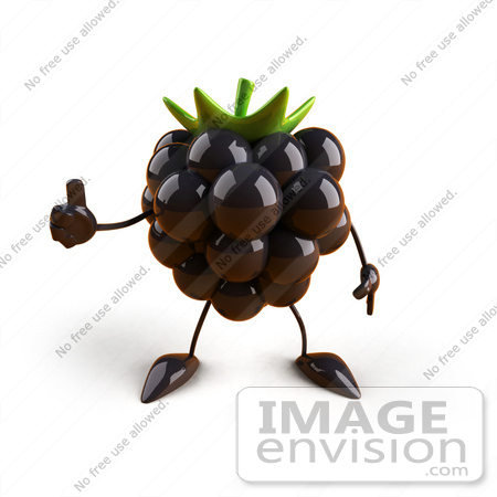 #50772 Royalty-Free (RF) Illustration Of A 3d Blackberry Mascot Giving The Thumbs Up - Version 1 by Julos