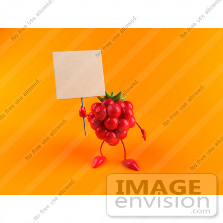 #50835 Royalty-Free (RF) Illustration Of A 3d Red Raspberry Character Holding Up A Blank Sign - Version 2 by Julos