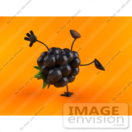 #50838 Royalty-Free (RF) Illustration Of A 3d Blackberry Character Doing A Cartwheel - Version 2 by Julos
