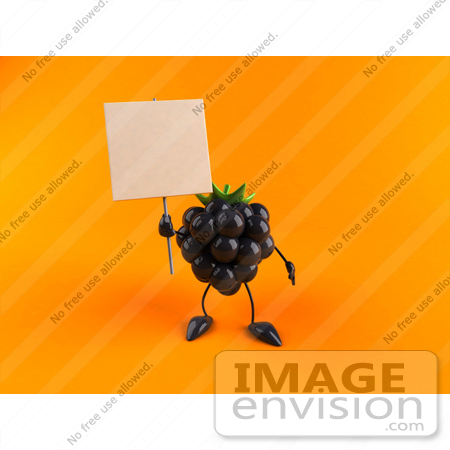 #50839 Royalty-Free (RF) Illustration Of A 3d Blackberry Character Holding Up A Blank Sign - Version 3 by Julos