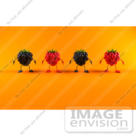 #50840 Royalty-Free (RF) Illustration Of A Row Of 3d Raspberry And Blackberry Characters - Version 2 by Julos