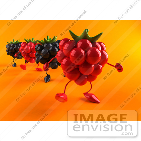 #50843 Royalty-Free (RF) Illustration Of 3d Blackberry And Raspberry Characters Walking Forward - Version 2 by Julos