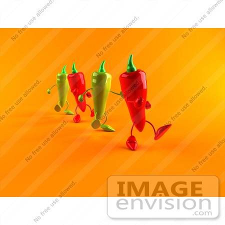 #50862 Royalty-Free (RF) Illustration Of 3d Green And Red Chili Pepper Characters Marching Forward - Version 2 by Julos