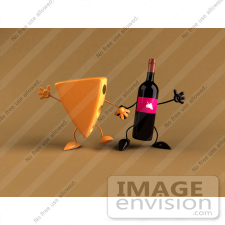 #50874 Royalty-Free (RF) Illustration Of 3d Cheese Wedge And Wine Bottle Characters Holding Hands - Version 2 by Julos