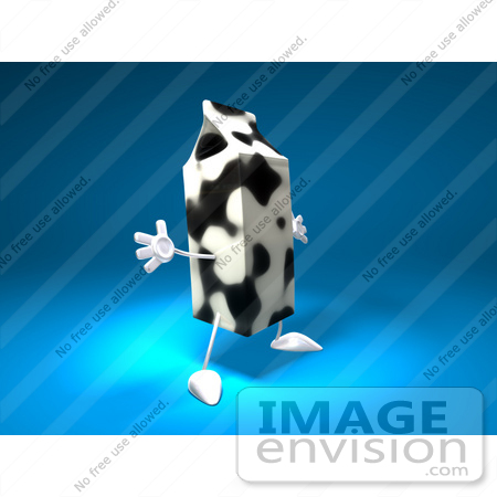 #50881 Royalty-Free (RF) Illustration Of A 3d Cow Patterned Milk Carton Character Holding Its Arms Out - Version 2 by Julos
