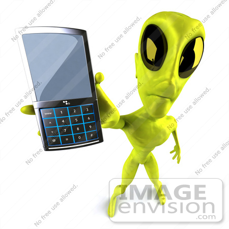 #50886 Royalty-Free (RF) Illustration Of A 3d Green Alien Mascot Holding Out A Cell Phone by Julos