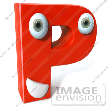 #50896 Royalty-Free (RF) Illustration Of A 3d Red Character Letter P by Julos