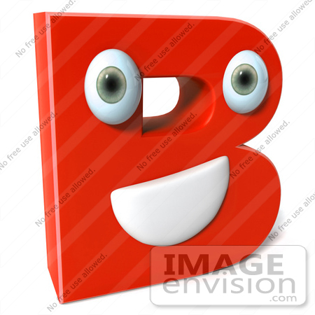 #50900 Royalty-Free (RF) Illustration Of A 3d Red Character Letter B by Julos