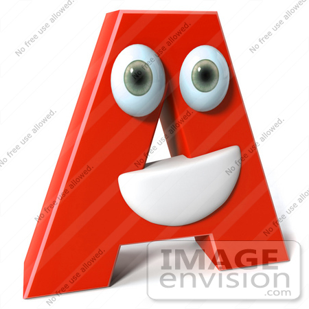 #50901 Royalty-Free (RF) Illustration Of A 3d Red Character Letter A by Julos