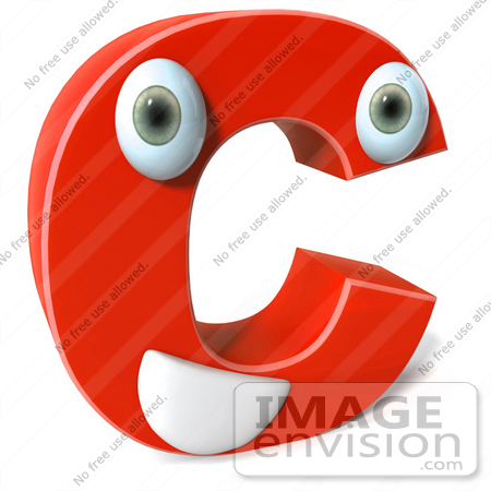 #50903 Royalty-Free (RF) Illustration Of A 3d Red Character Letter C by Julos