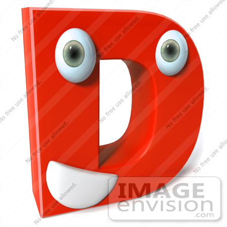 #50905 Royalty-Free (RF) Illustration Of A 3d Red Character Letter D by Julos