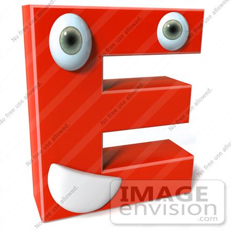 e Letter Logo 3d 3d Red Character Letter e