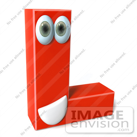 #50910 Royalty-Free (RF) Illustration Of A 3d Red Character Letter L by Julos