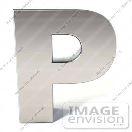 #50921 Royalty-Free (RF) Illustration Of A 3d Chrome Alphabet Letter P by Julos
