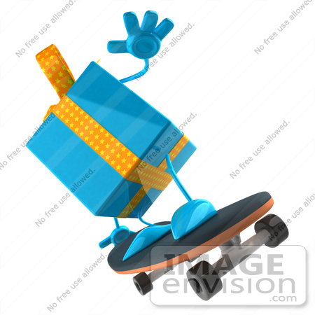 #50961 Royalty-Free (RF) Illustration Of A 3d Blue Present Character Skateboarding - Version 2 by Julos