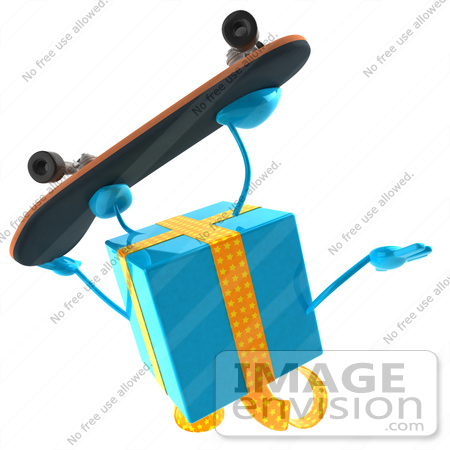 #50966 Royalty-Free (RF) Illustration Of A 3d Blue Present Character Skateboarding - Pose 2 by Julos