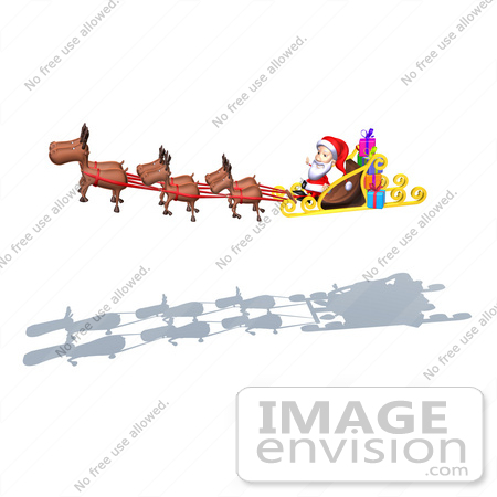 #50970 Royalty-Free (RF) Illustration Of A 3d Santa Claus In His Sled With The Flying Reindeer - Version 2 by Julos