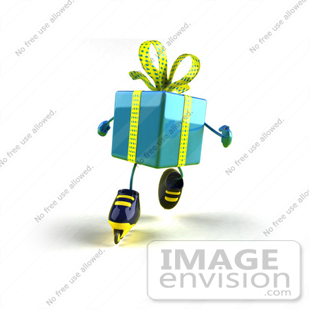 #50998 Royalty-Free (RF) Illustration Of A 3d Blue Present Character Inline Skating - Version 3 by Julos