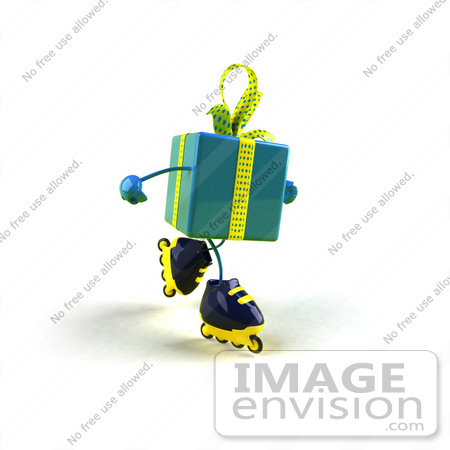 #50999 Royalty-Free (RF) Illustration Of A 3d Blue Present Character Inline Skating - Version 2 by Julos