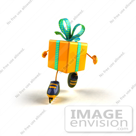 #51003 Royalty-Free (RF) Illustration Of A 3d Yellow Present Character Inline Skating - Version 3 by Julos
