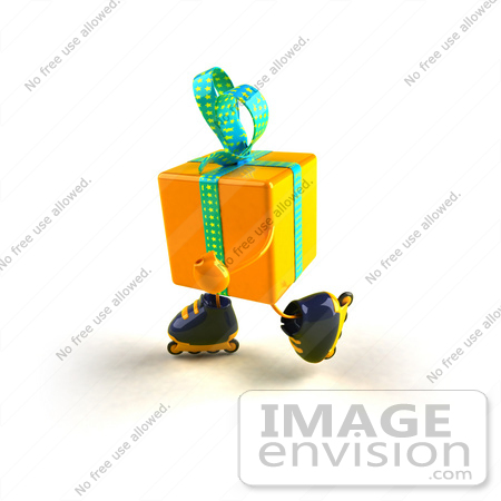 #51004 Royalty-Free (RF) Illustration Of A 3d Yellow Present Character Inline Skating - Version 1 by Julos