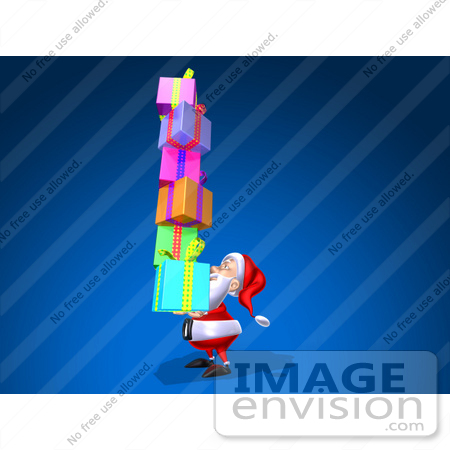 #51012 Royalty-Free (RF) Illustration Of A 3d Santa Claus Carrying Stacked Gifts - Version 3 by Julos