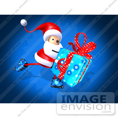 #51022 Royalty-Free (RF) Illustration Of A 3d Santa Claus Inline Skating With A Gift - Version 1 by Julos