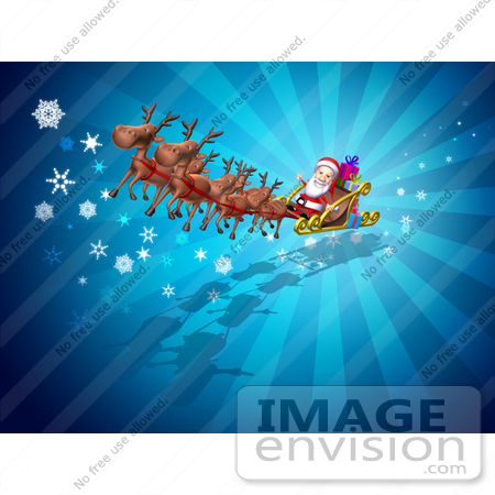 #51023 Royalty-Free (RF) Illustration Of A 3d Santa And Reindeer Flying Over Gifts - Version 2 by Julos