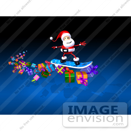 #51028 Royalty-Free (RF) Illustration of a 3d Santa Snowboarding On Gifts - Version 2 by Julos