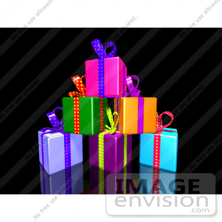 #51174 Royalty-Free (RF) Illustration Of A Pile Of Colorful Presents With Ribbons And Bows - Version 3 by Julos