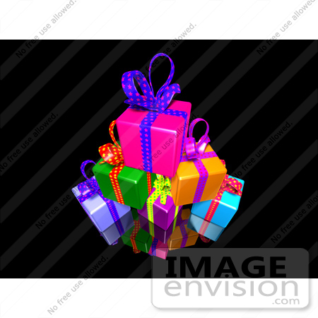 #51176 Royalty-Free (RF) Illustration Of A Pile Of Colorful Presents With Ribbons And Bows - Version 1 by Julos