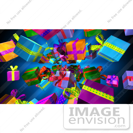 #51178 Royalty-Free (RF) Illustration Of Colorful Wrapped Gifts Raining Down On A Blue Background by Julos