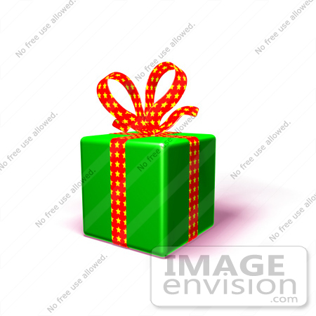 #51181 Royalty-Free (RF) Illustration Of A Present Wrapped In Green Paper With A Red Polka Dot Bow And Ribbons - Version 1 by Julos