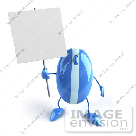 #51264 Royalty-Free (RF) Illustration Of A 3d Wireless Blue Computer Mouse Mascot Holding Up A Blank Sign - Version 1 by Julos