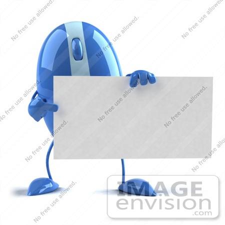 #51267 Royalty-Free (RF) Illustration Of A 3d Wireless Blue Computer Mouse Mascot Holding A Blank Business Card - Version 2 by Julos