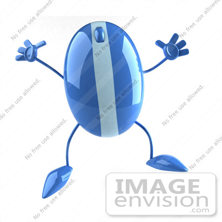 #51269 Royalty-Free (RF) Illustration Of A 3d Wireless Blue Computer Mouse Mascot Jumping - Version 2 by Julos