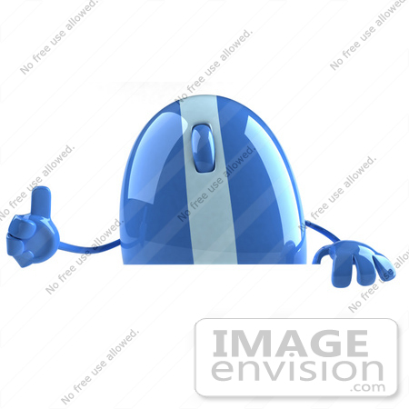 #51272 Royalty-Free (RF) Illustration Of A 3d Wireless Blue Computer Mouse Mascot Giving The Thumbs Up And Standing Behind A Blank Sign by Julos